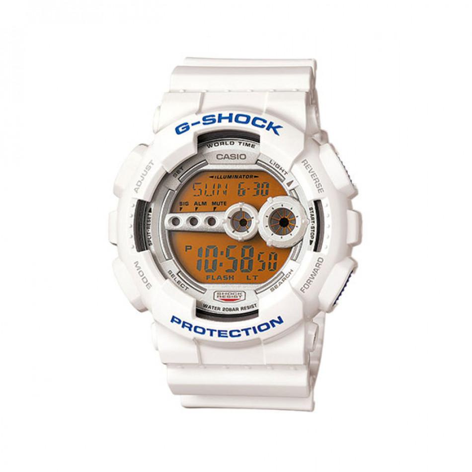 Мъжки спортен часовник Casio G-SHOCK бял с оранжево осветление на дисплея GD100SC7ER