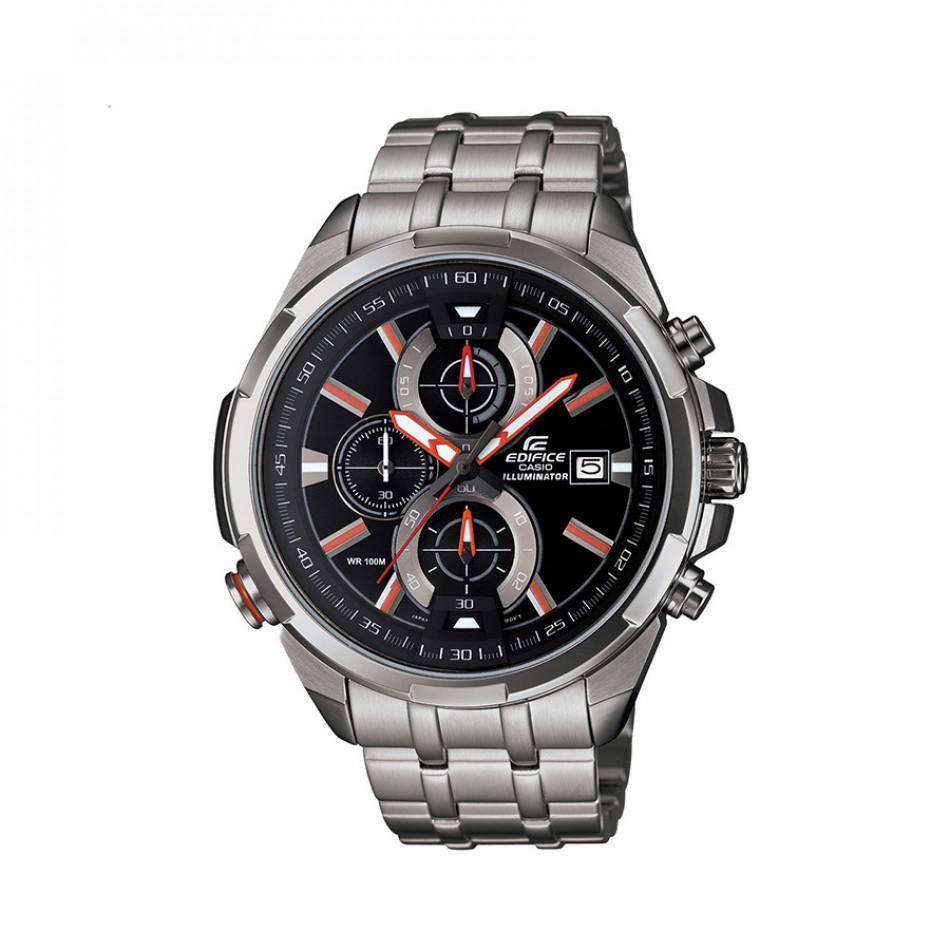 Мъжки часовник Casio Edifice сребрист браслет с червени индекси EFR536D1A4VEF