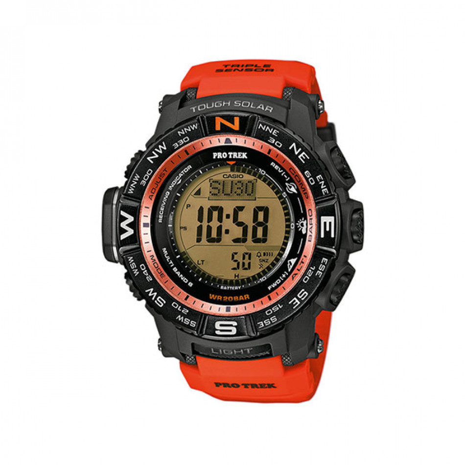 Мъжки часовник Casio Pro Trek  с оранжева каишка и соларно захранване PRW3500Y4ER
