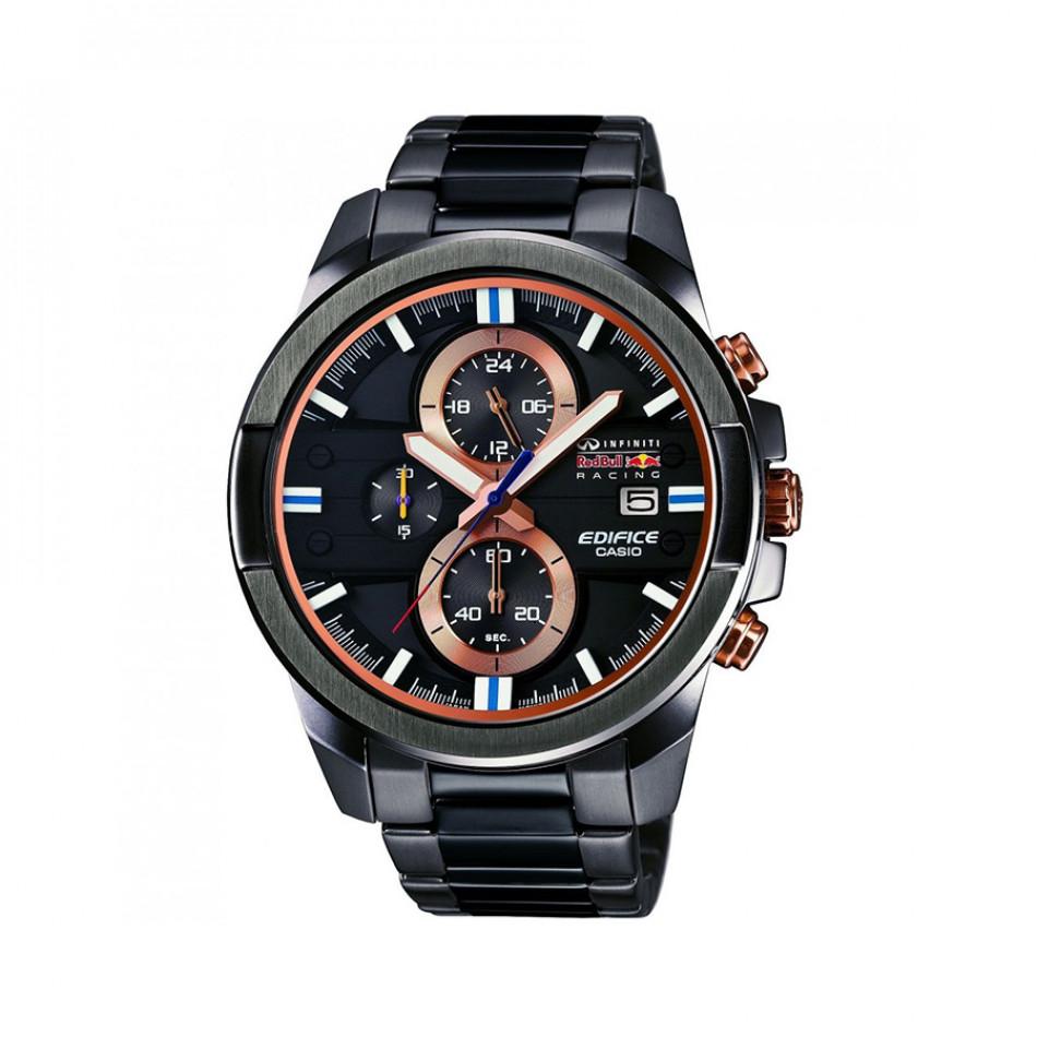 Мъжки часовник Casio Edifice черен браслет с оранжеви бутони EFR543RBM1AER