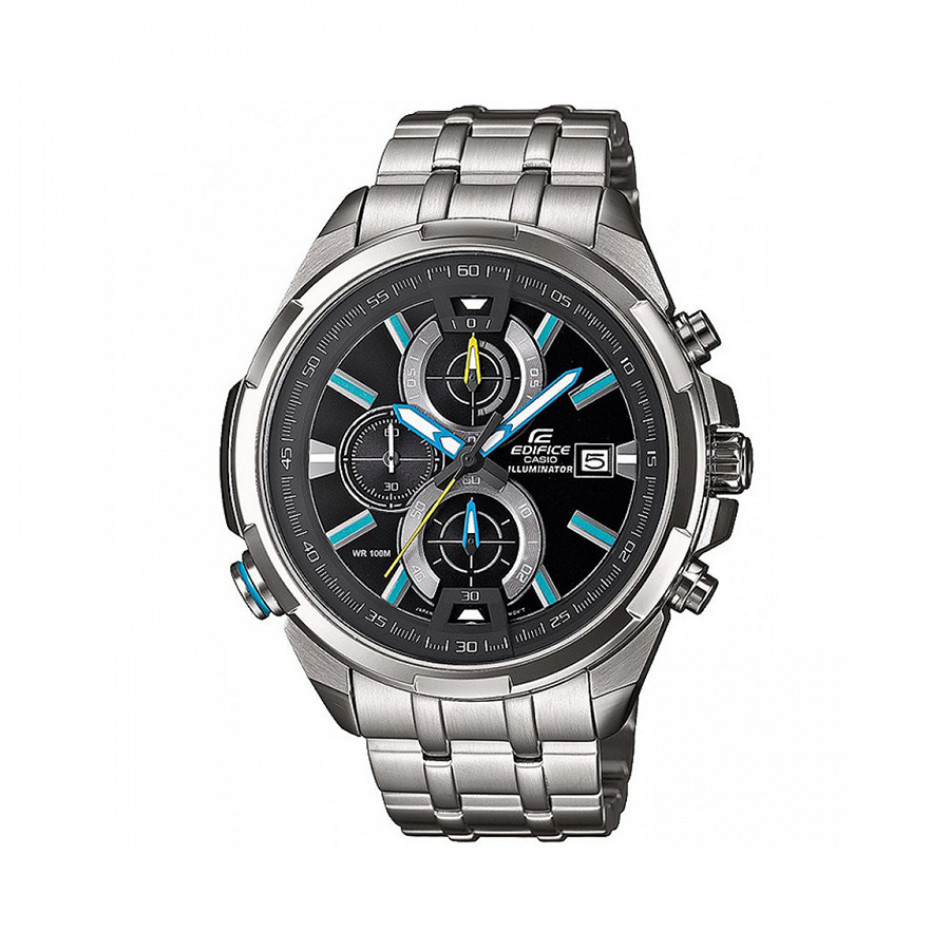 Мъжки часовник Casio Edifice сребрист браслет със сини индекси EFR536D1A2VEF