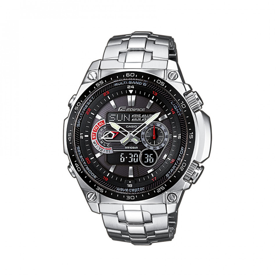 Мъжки часовник Casio Edifice сребрист браслет с радио сверяване ECWM300EDB1AER