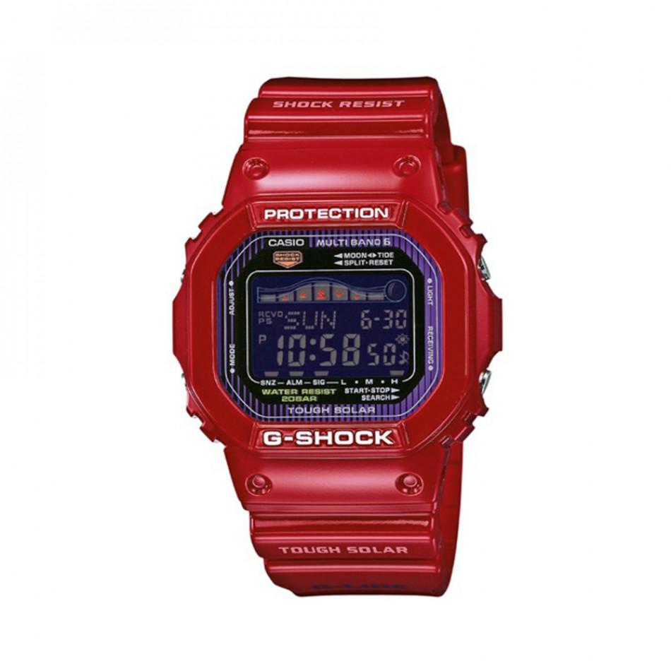 Мъжки спортен часовник Casio G-SHOCK червен с лилав правоъгълен дисплей GWX5600C4ER