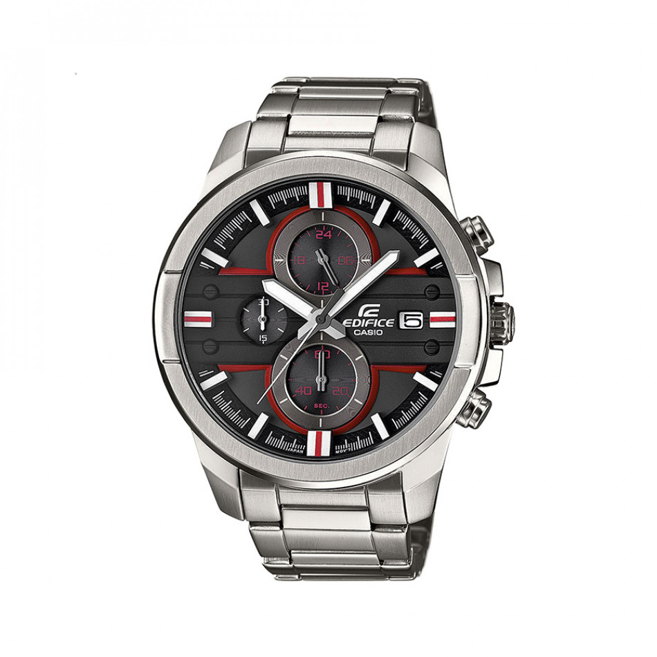 Мъжки часовник Casio Edifice сив браслет с червени детайли EFR543D1A4VUEF
