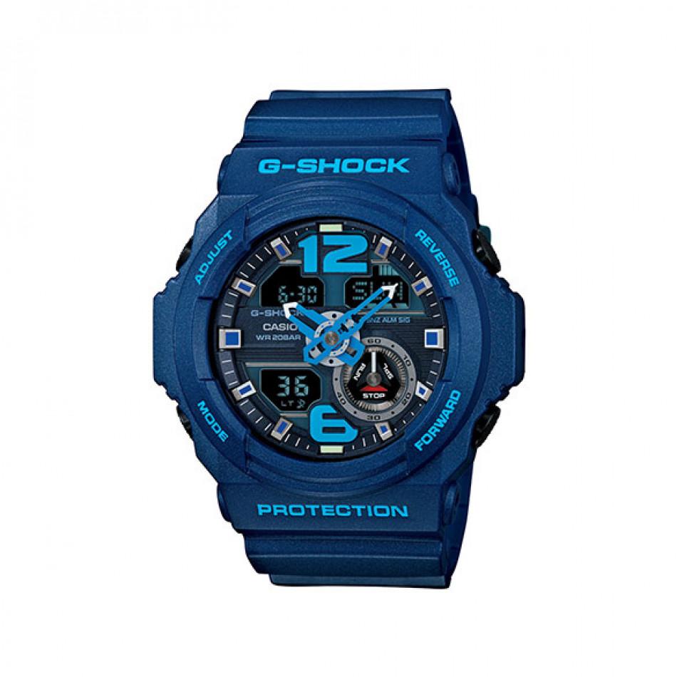 Мъжки спортен часовник Casio G-SHOCK син със светло сини надписи GA3102AER