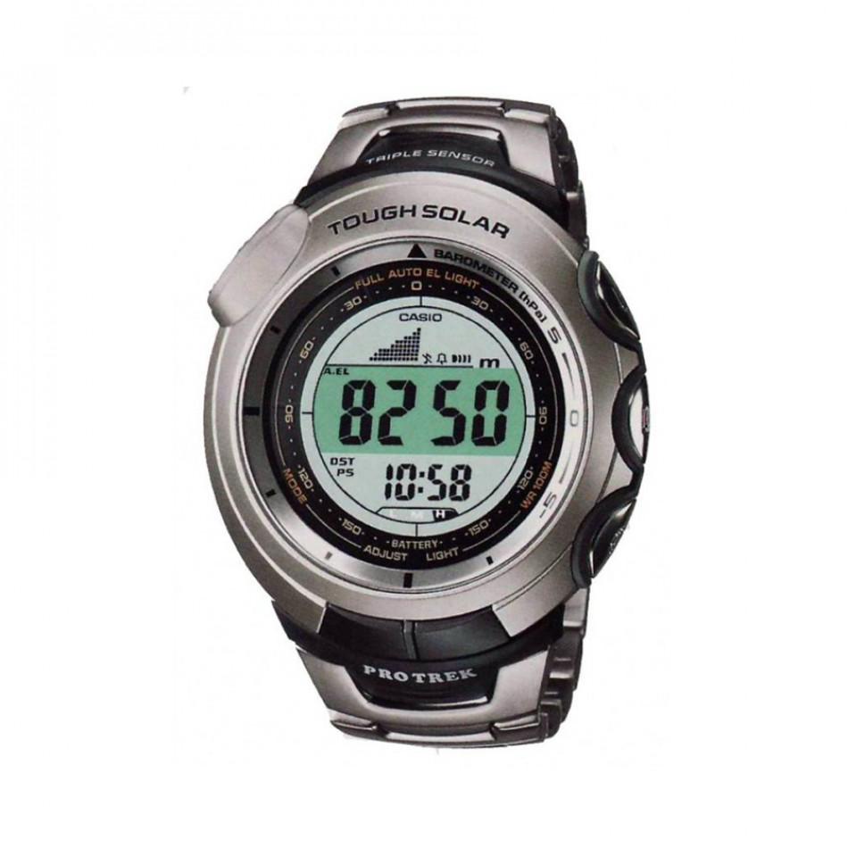 Мъжки часовник Casio Pro Trek сив с титаниев браслет PRG120T7VER