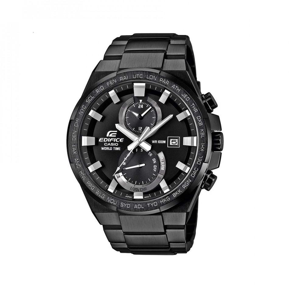 Мъжки часовник Casio Edifice черен браслет със сребристи стрелки EFR542BK1AVUEF
