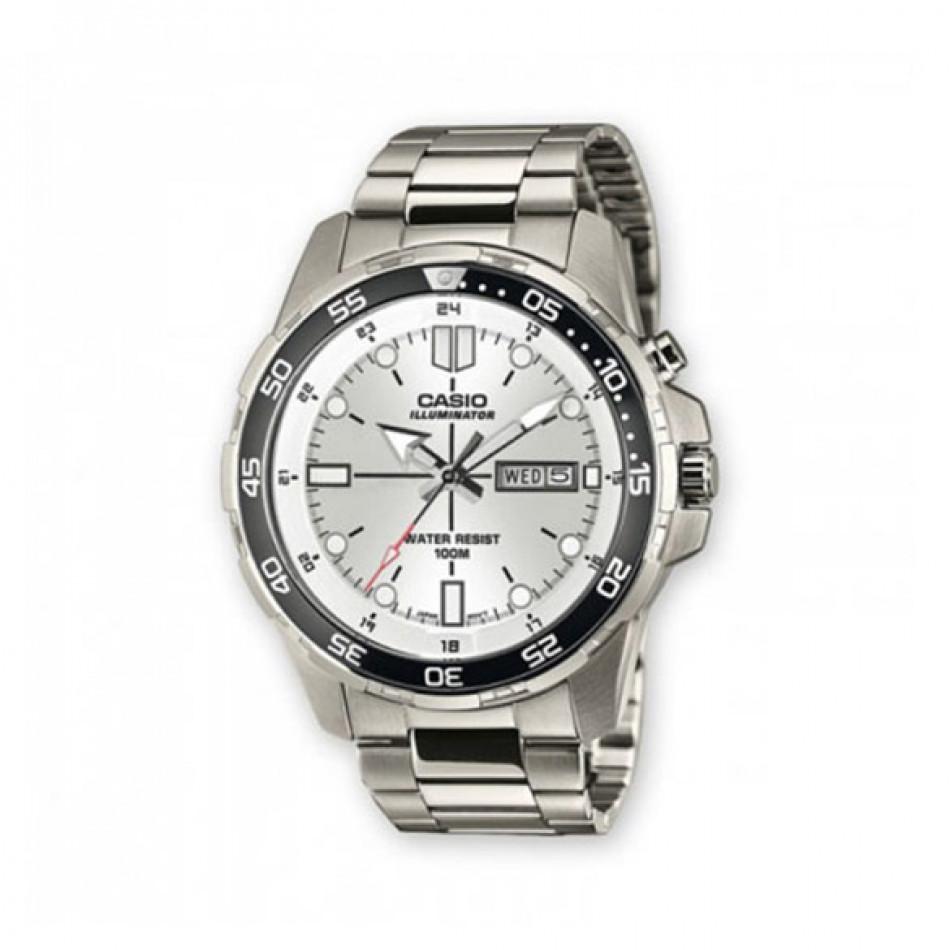 Мъжки часовник Casio Outdoor сребрист браслет с бял циферблат MTD1079D7A1VEF