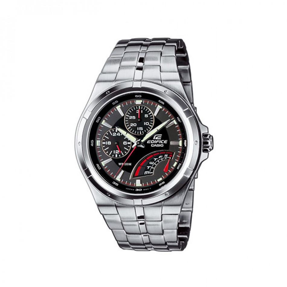 Мъжки часовник Casio Edifice сребрист браслет с механизъм кварцов хронограф EF325D1AVEF