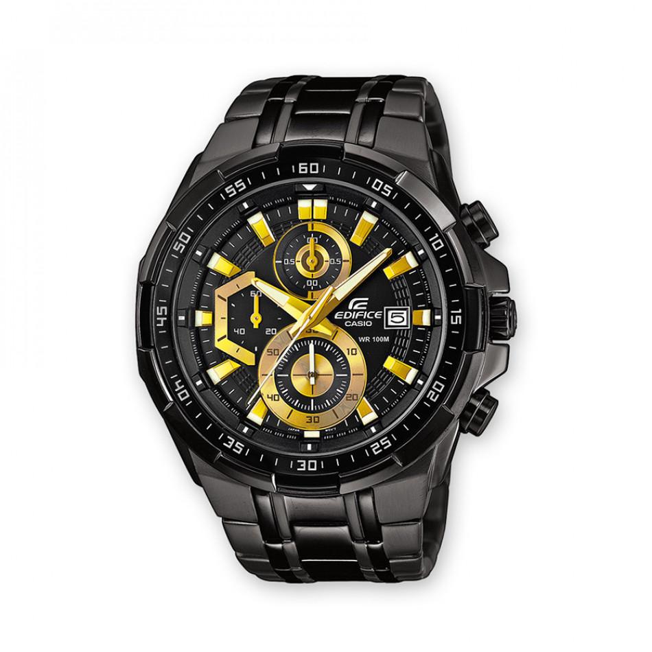 Мъжки часовник Casio Edifice черен браслет с жълти стрелки и детайли на циферблата EFR539BK1AVUEF