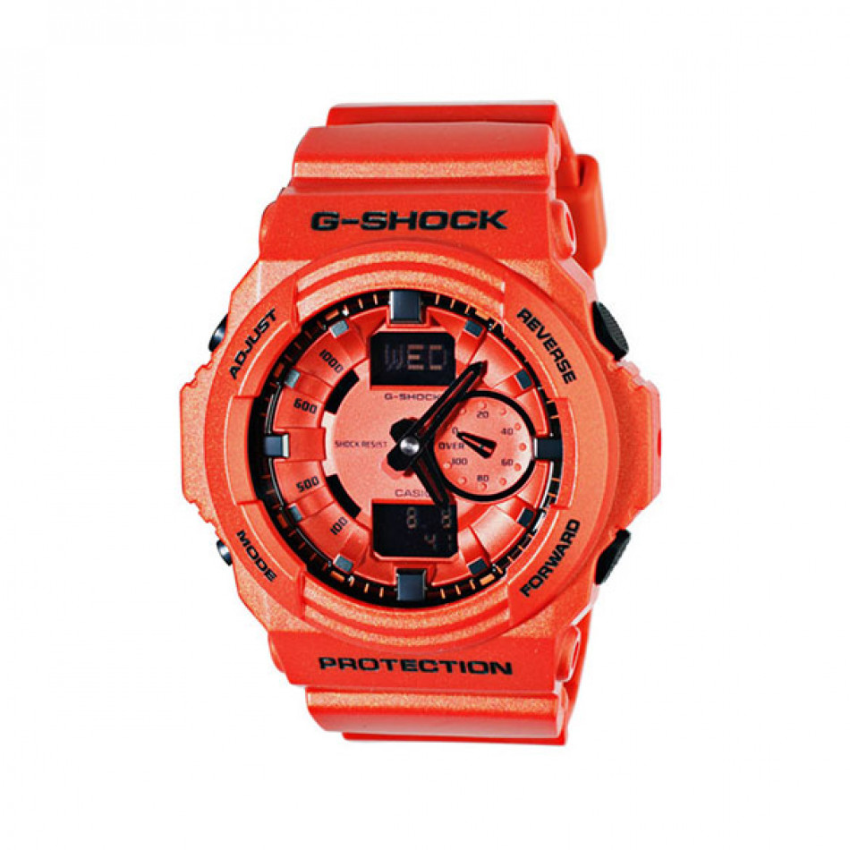 Мъжки спортен часовник Casio G-SHOCK оранжев с черни стрелки GA150A4AER