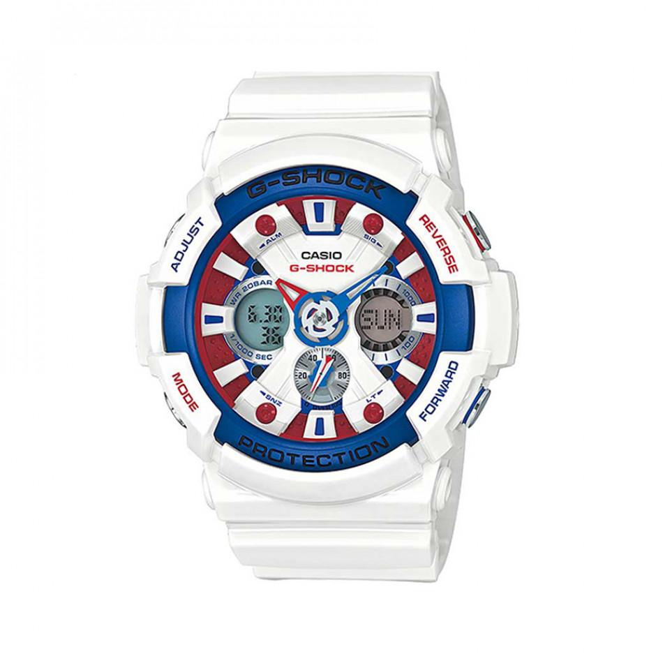 Мъжки спортен часовник Casio G-SHOCK бял с разноцветни елементи на касата GA201TR7AER