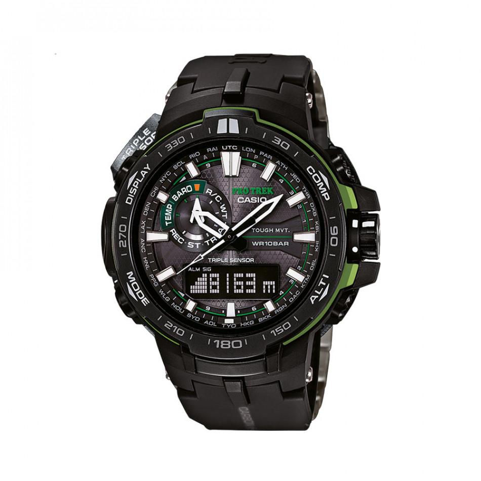 Мъжки часовник Casio Pro Trek с неоново зелени детайли PRW6000Y1AER