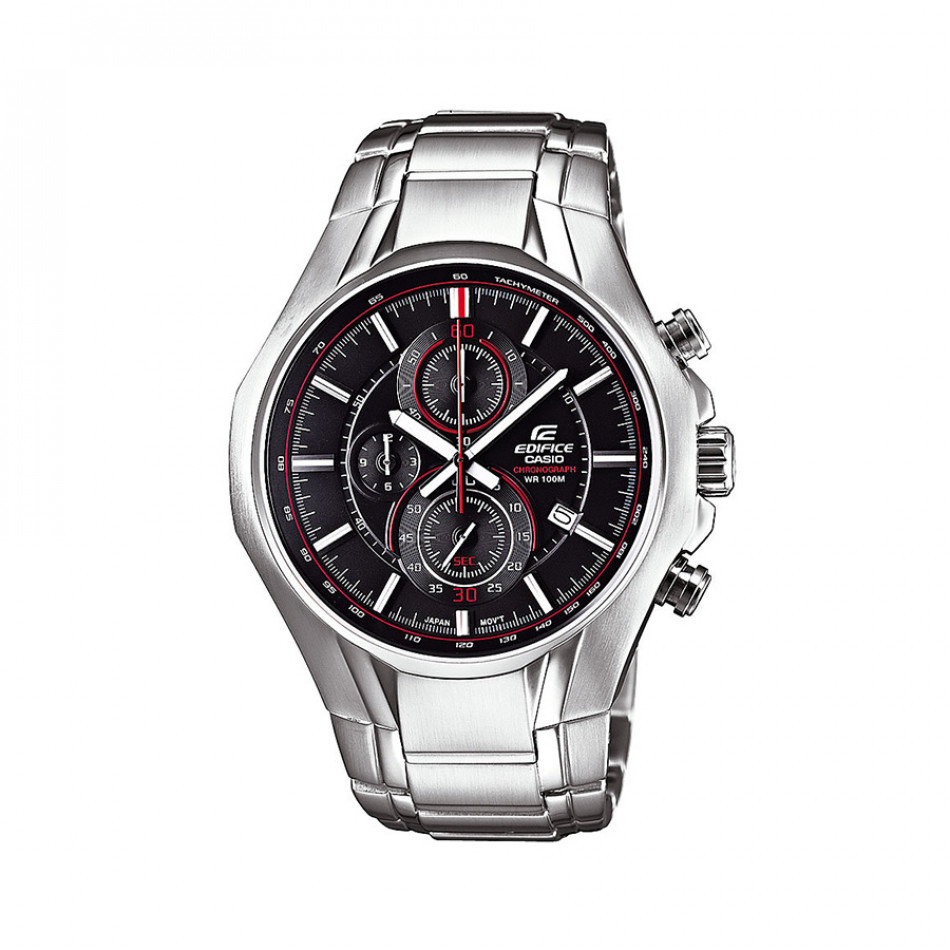 Мъжки часовник Casio Edifice сребрист браслет с червен кант в циферблата EF522D1AVEF
