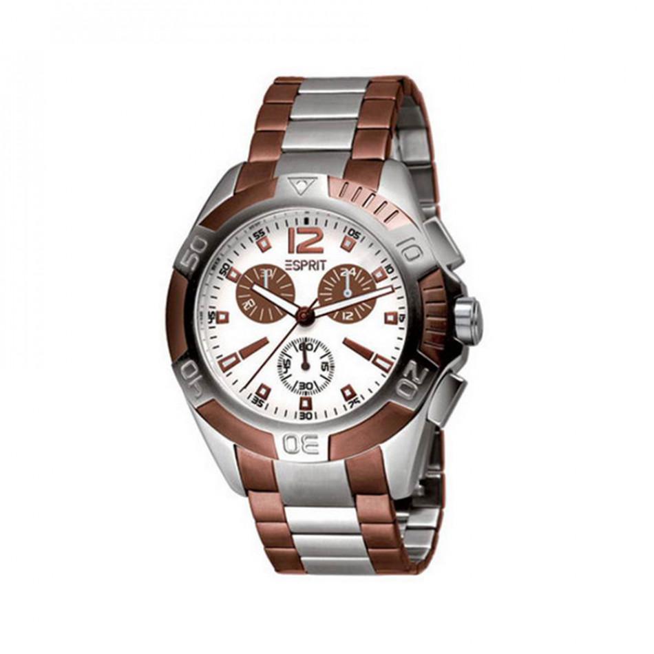 Мъжки часовник Esprit сребрист браслет с кафяви детайли ES100461002