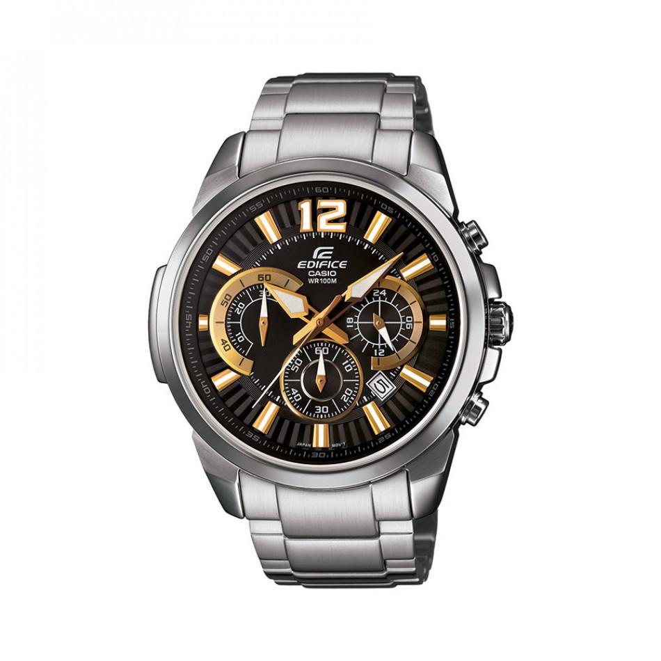 Мъжки часовник Casio Edifice сребрист браслет със златисти стрелки EFR535D1A9VUEF