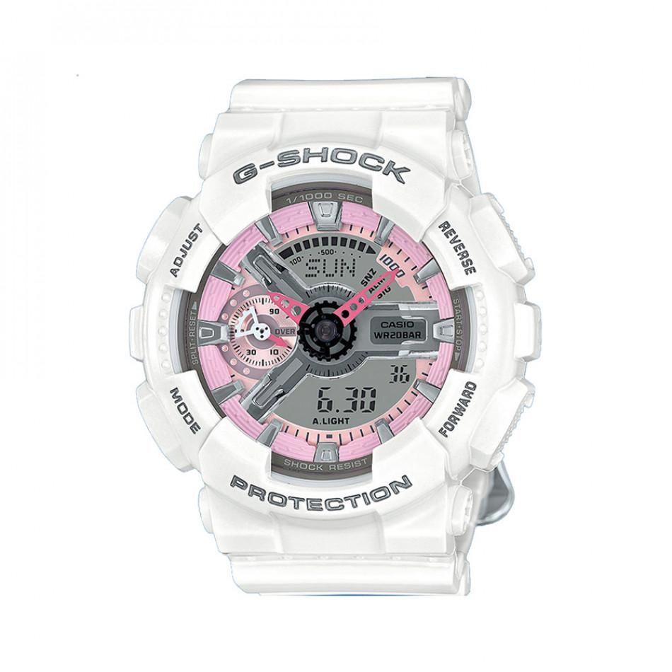 Мъжки спортен часовник Casio G-SHOCK бял с розови детайли GMAS110MP7AER