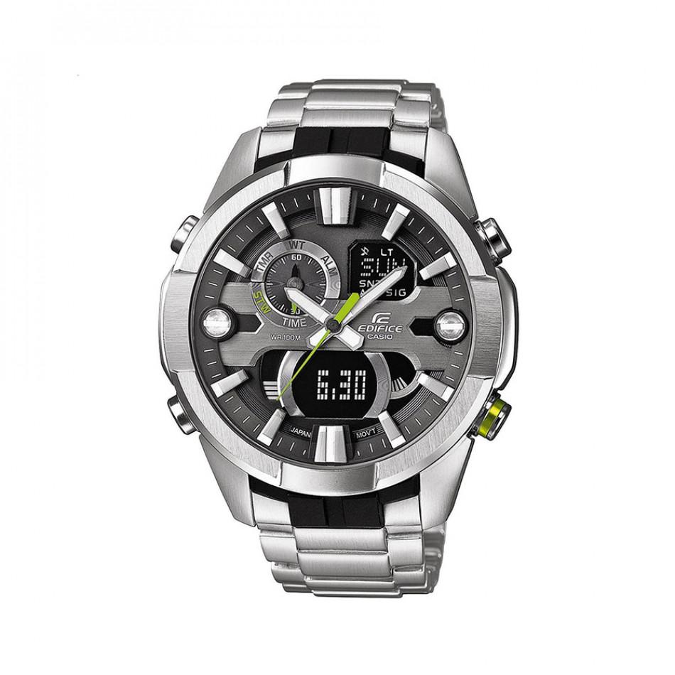 Мъжки часовник Casio Edifice сребрист браслет с неоново зелен бутон ERA201D1AVEF