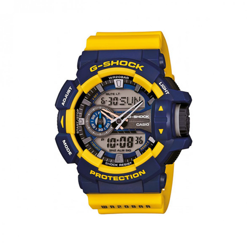 Мъжки спортен часовник Casio G-SHOCK със син дисплей и жълта каишка GA4009BER