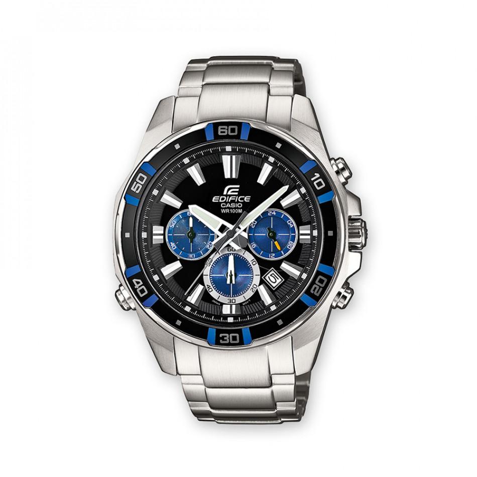 Мъжки часовник Casio Edifice сребрист браслет с черен циферблат и бели индекси EFR534D1A2VEF
