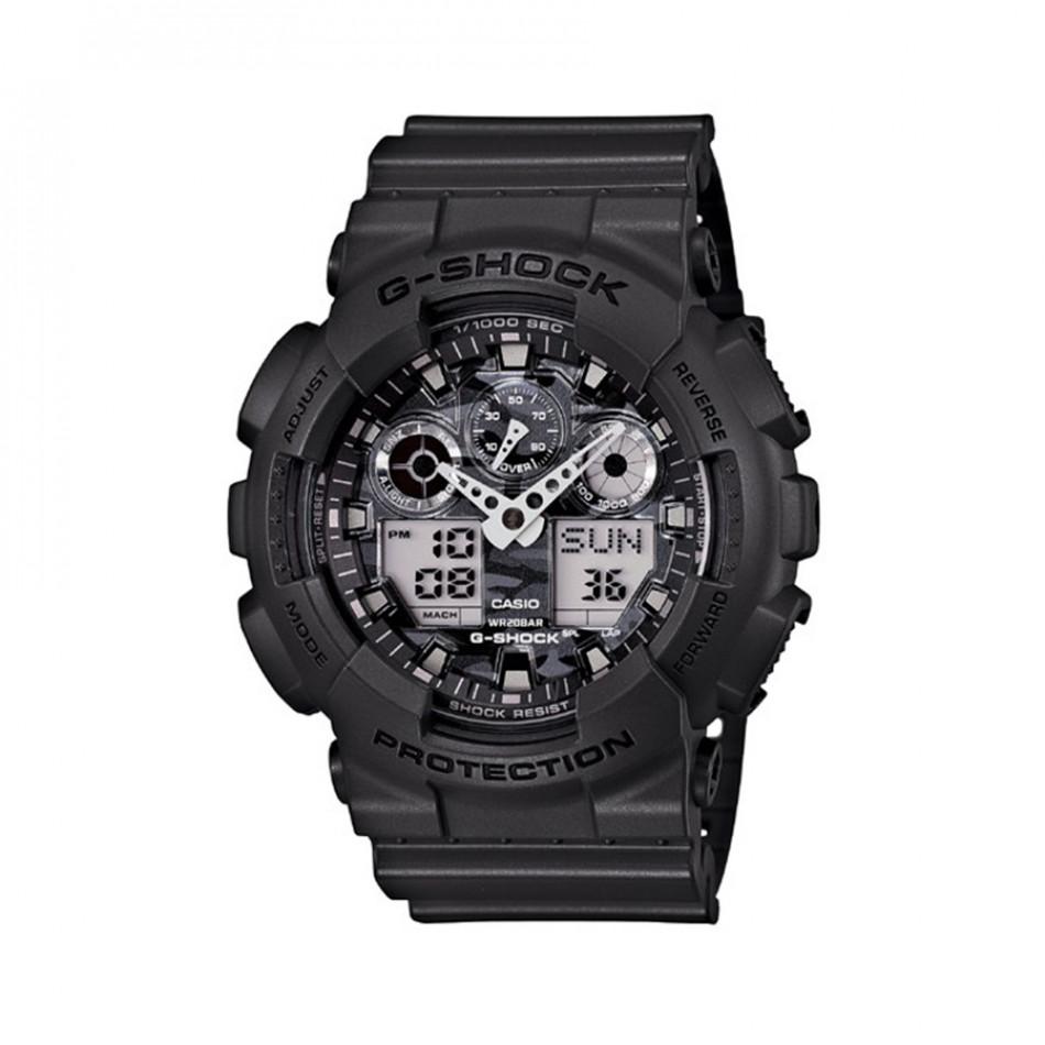 Мъжки спортен часовник Casio G-SHOCK черен със сив камуфлажен циферблат GA100CF8AER