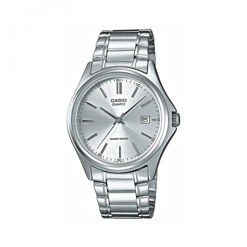 Мъжки часовник Casio Collection сребрист браслет с бял циферблат MTP1183PA7AEF