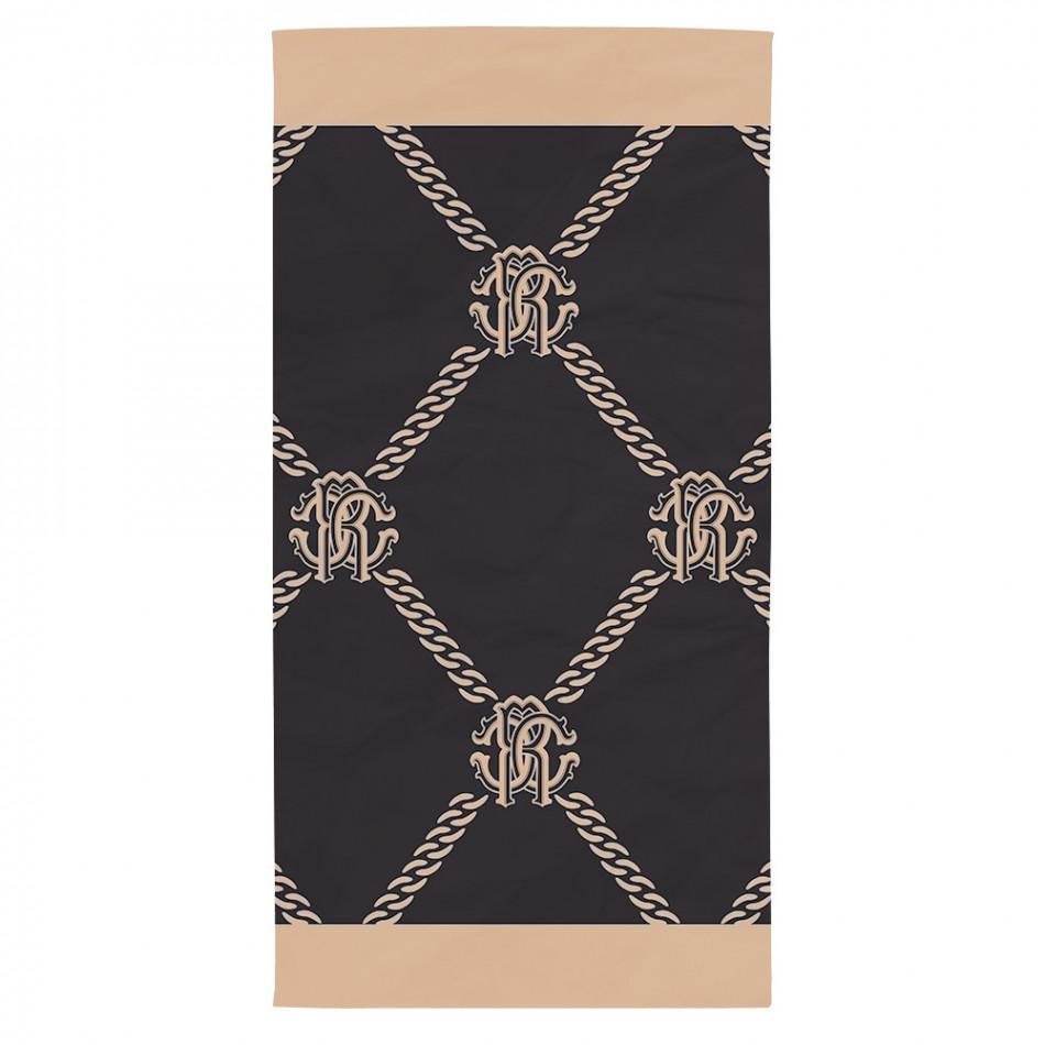 Плажна кърпа черно-бежова с ефектен принт на верижки tsf120416-5
