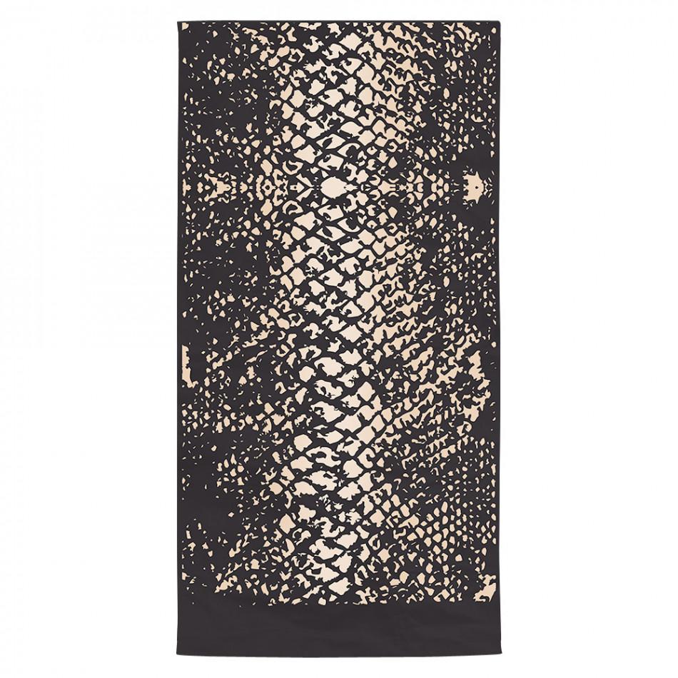 Черна плажна кърпа със змийска шарка tsf120416-3