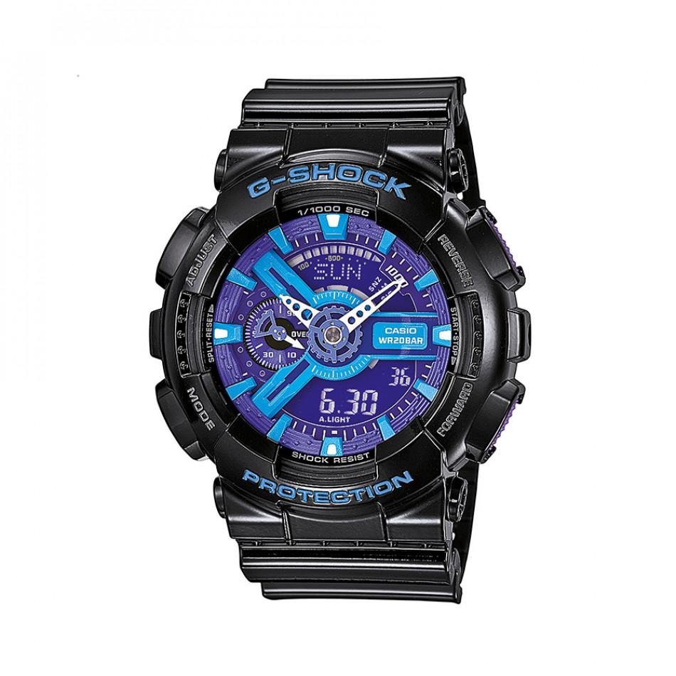 Мъжки спортен часовник Casio G-SHOCK черен с лилаво-син циферблат GA110HC1AER