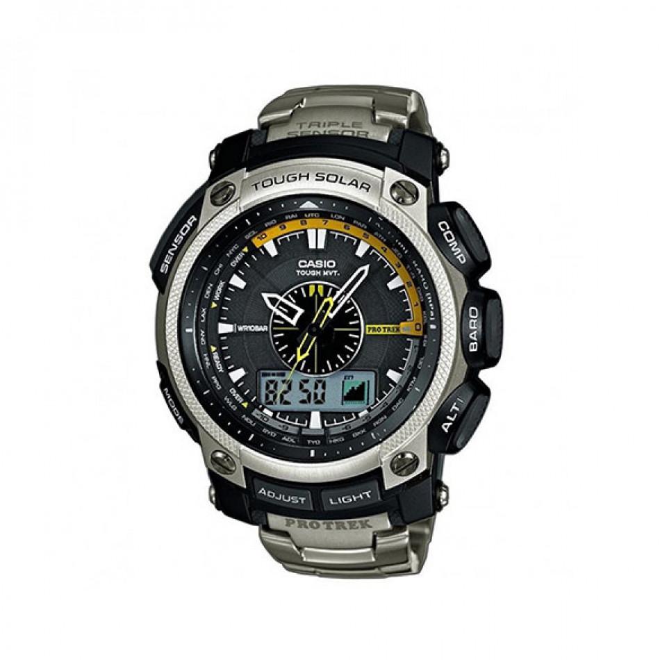 Мъжки часовник Casio Pro Trek сребрист с алтиметър PRW5000T7ER