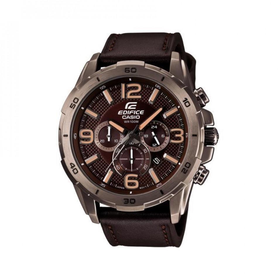Мъжки часовник Casio Edifice кафяв с кафява кожена каишка EFR538L5AVUEF
