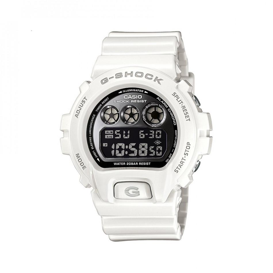 Мъжки спортен часовник Casio G-SHOCK бял с черен дисплей DW6900NB7ER