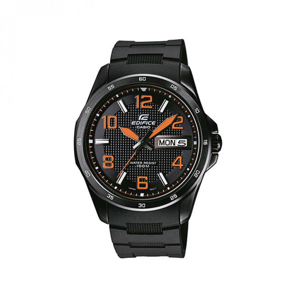 Мъжки часовник Casio Edifice черен с оранжеви стрелки и оранжеви цифри EF132PB1A4VER