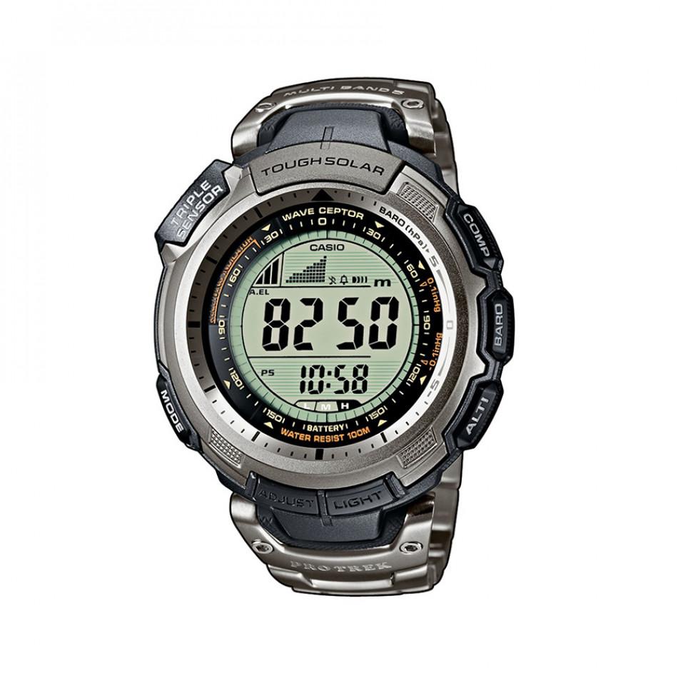 Мъжки часовник Casio Pro Trek сребрист с титаниев браслет PRW1300T7VER