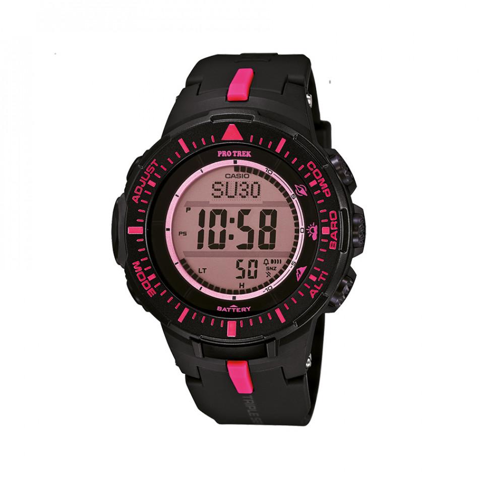 Мъжки часовник Casio Pro Trek черен с розови детайли PRG3001A4ER