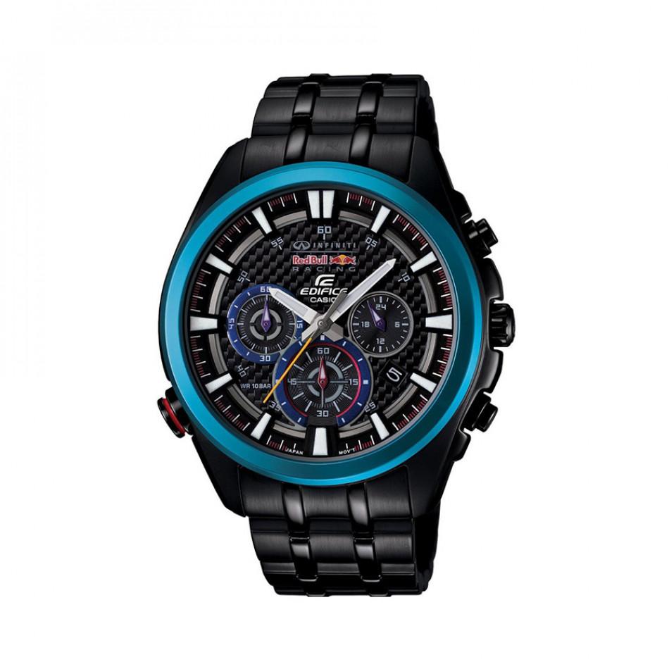 Мъжки часовник Casio Edifice черен браслет със син ринг на циферблата EFR537RBK1AER