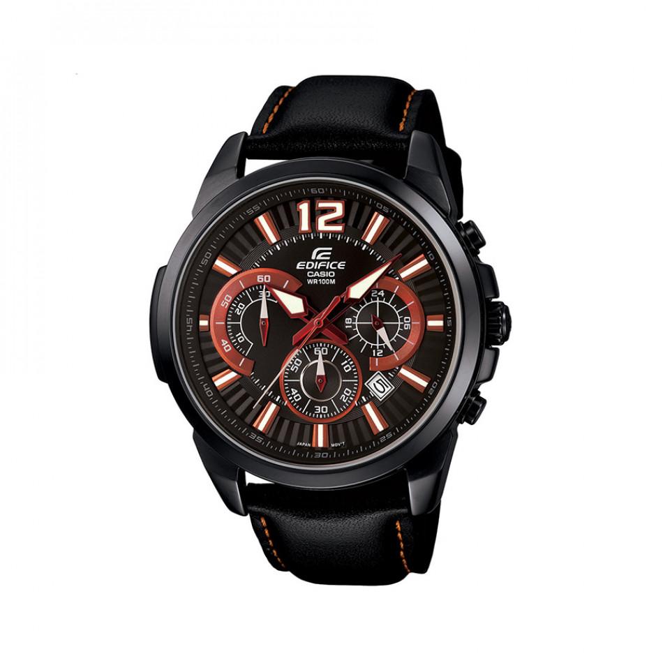 Мъжки часовник Casio Edifice черен с оранжево-бели индекси EFR535BL1A4VUEF