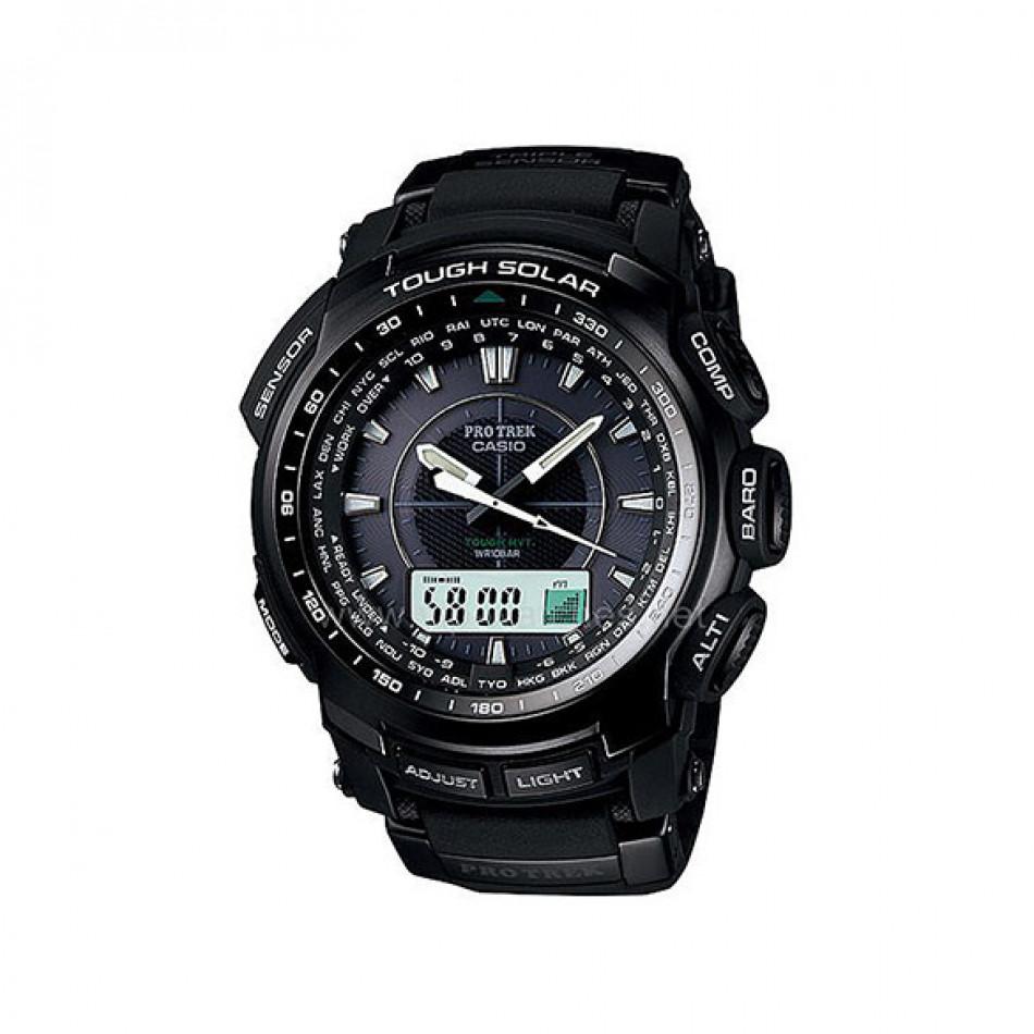 Мъжки часовник Casio Pro Trek  черен със сверяване чрез радио сигнал PRW51001ER