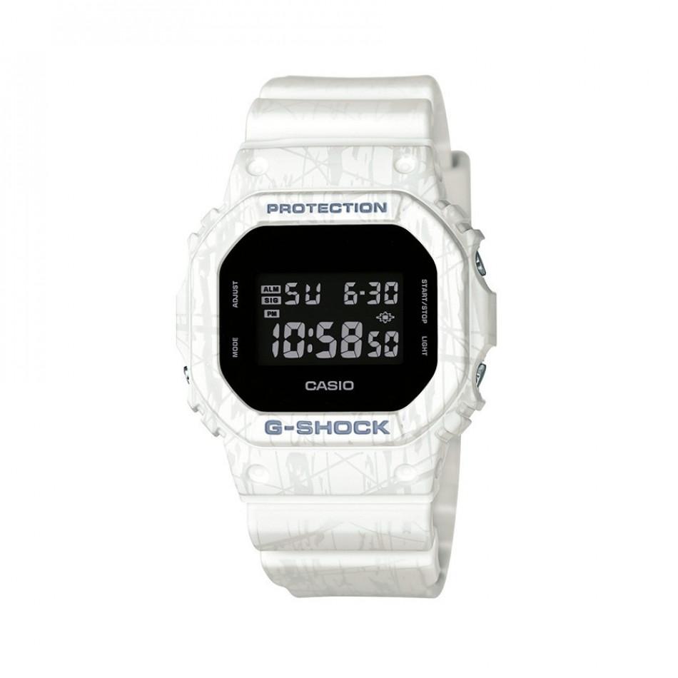 Мъжки спортен часовник Casio G-SHOCK бял с правоъгълен черен дисплей DW5600SL7ER