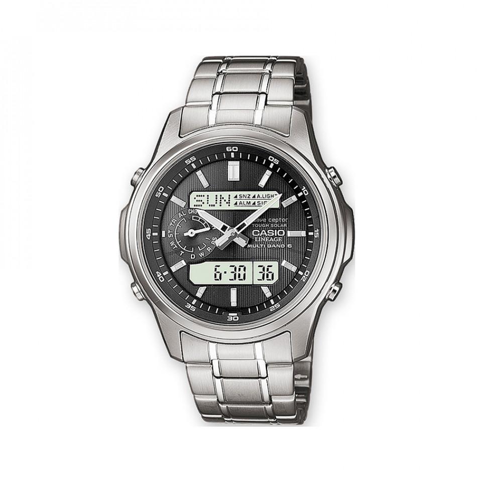 Мъжки часовник Casio Lineage сребрист с черен циферблат LCWM300D1AER