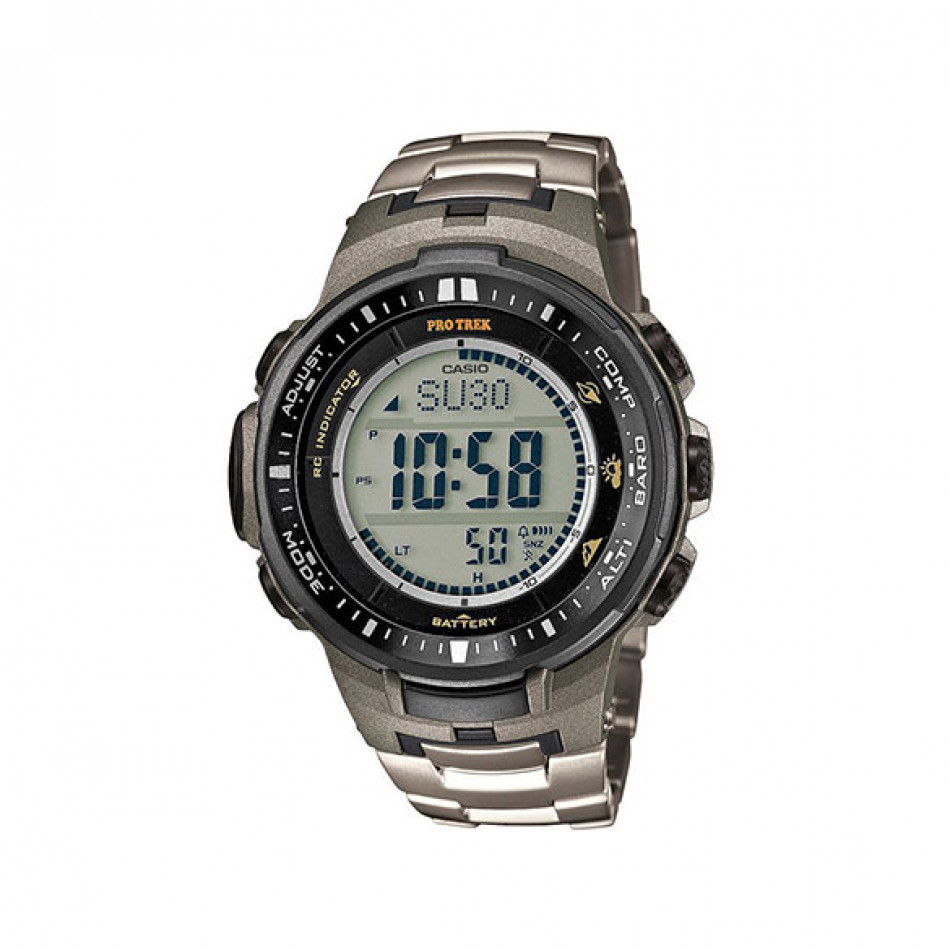 Мъжки часовник Casio Pro Trek титаниев сребрист браслет PRW3000T7ER