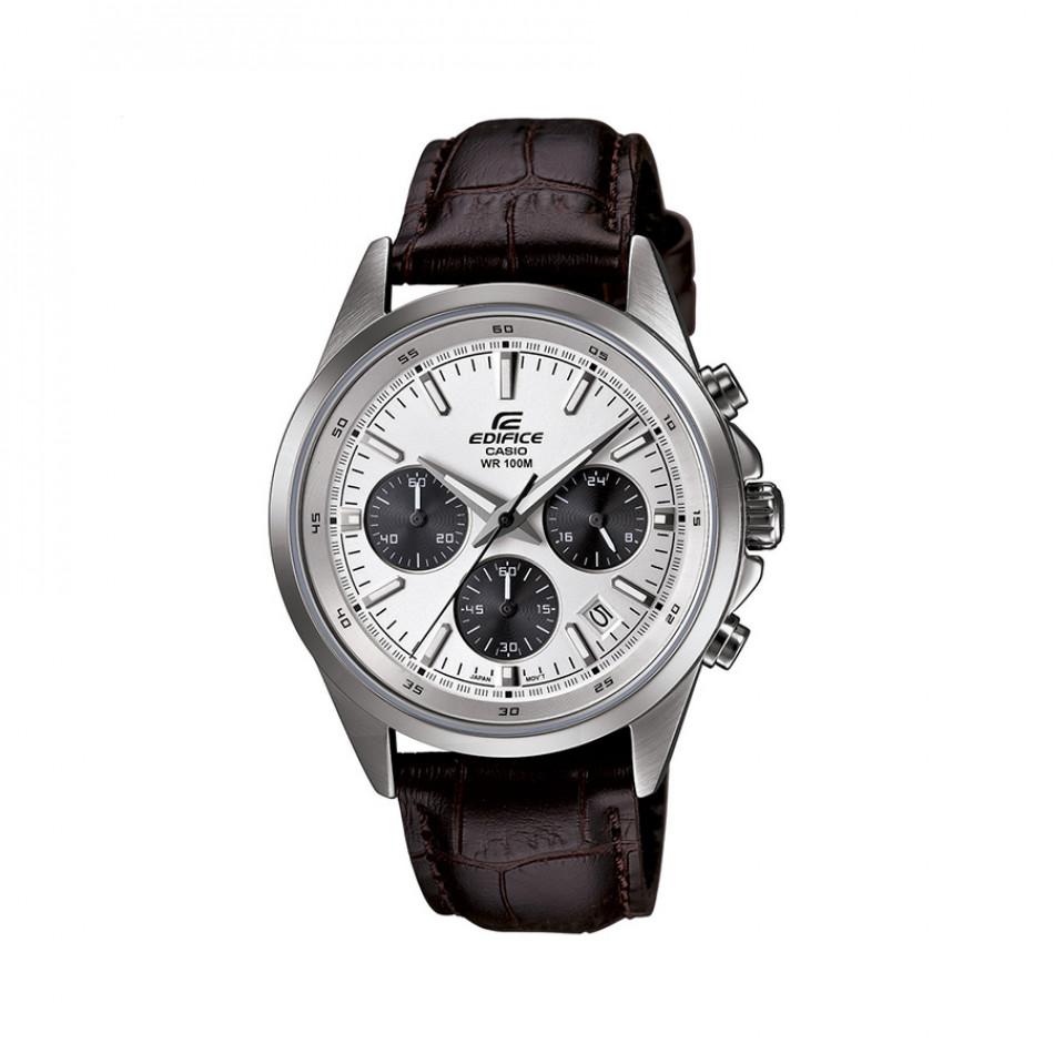 Мъжки часовник Casio Edifice с кафява кожена каишка и бял циферблат EFR527L7AVUEF