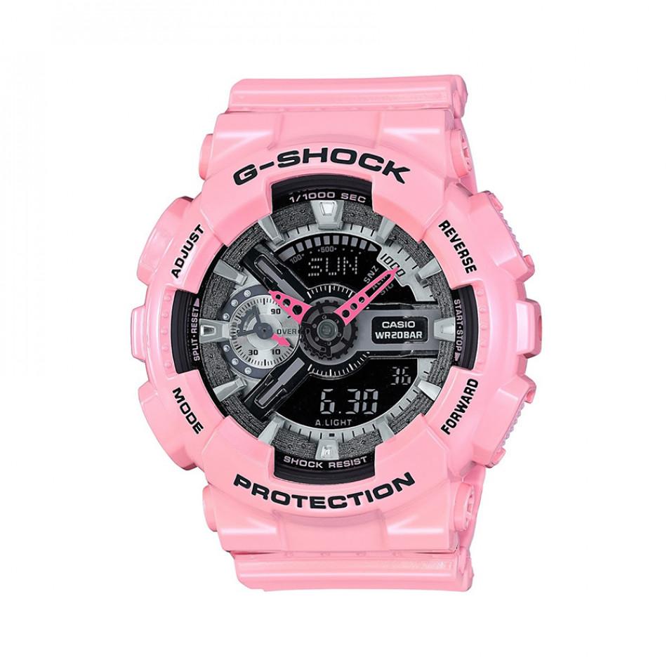 Мъжки спортен часовник Casio G-SHOCK розов с черен дисплей GMAS110MP4A2ER