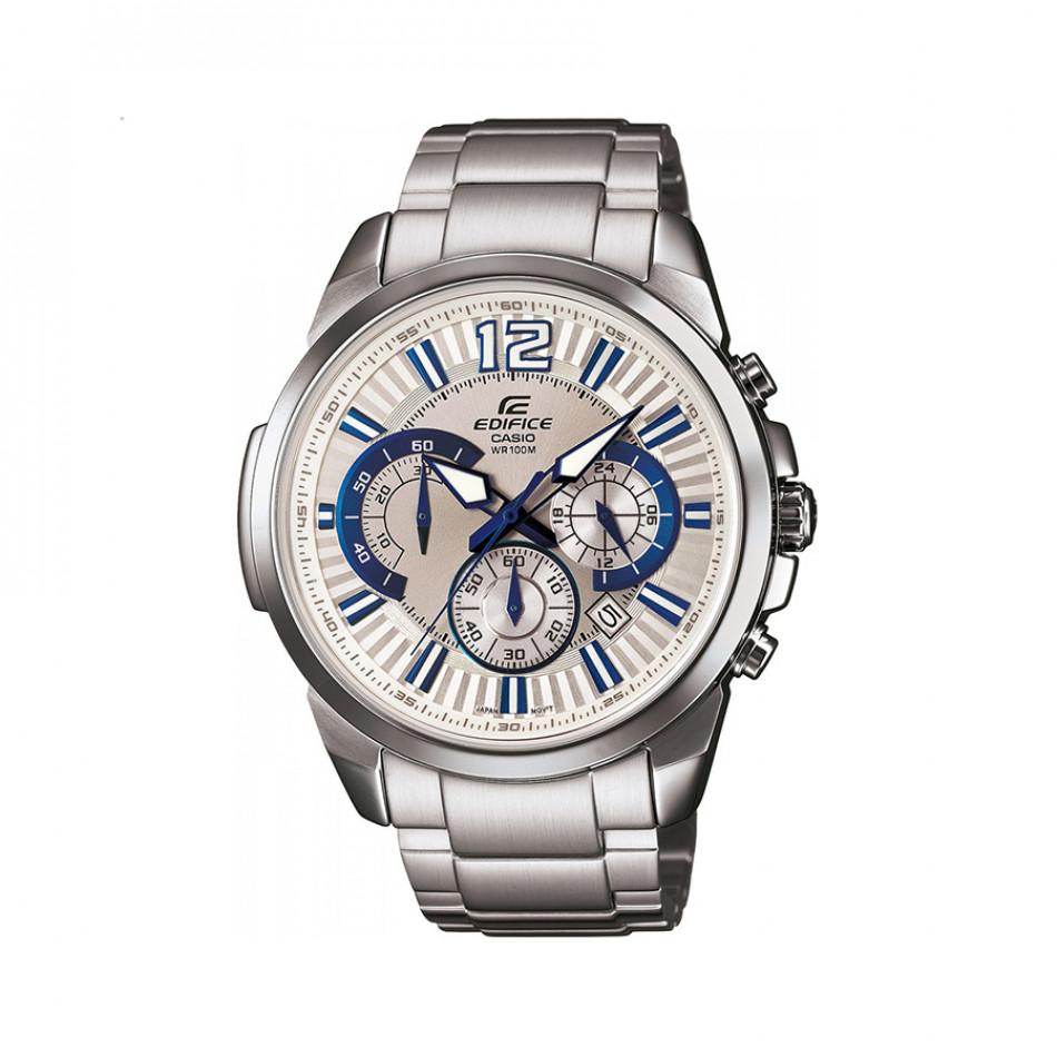 Мъжки часовник Casio Edifice сребрист браслет със синьо-бели индекси EFR535D7A2VUEF