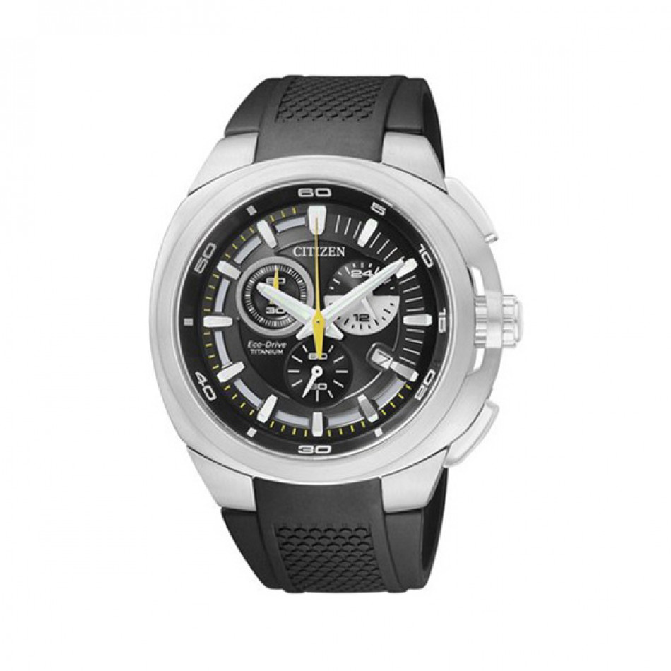 Мъжки часовник Citizen титаниев с черна каучукова каишка AT2020 06E