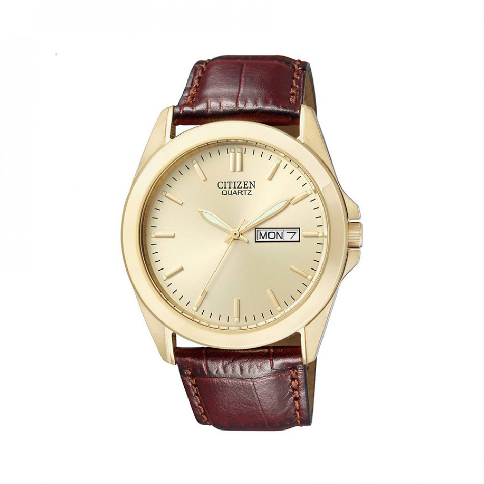 Мъжки часовник Citizen златист с кафява каишка от естествена кожа BF0582 01PE