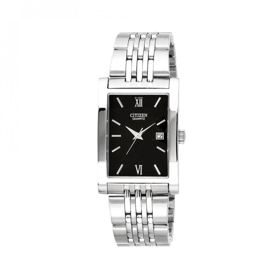 Мъжки часовник Citizen сребрист с черен правоъгълен циферблат BH1370 51E