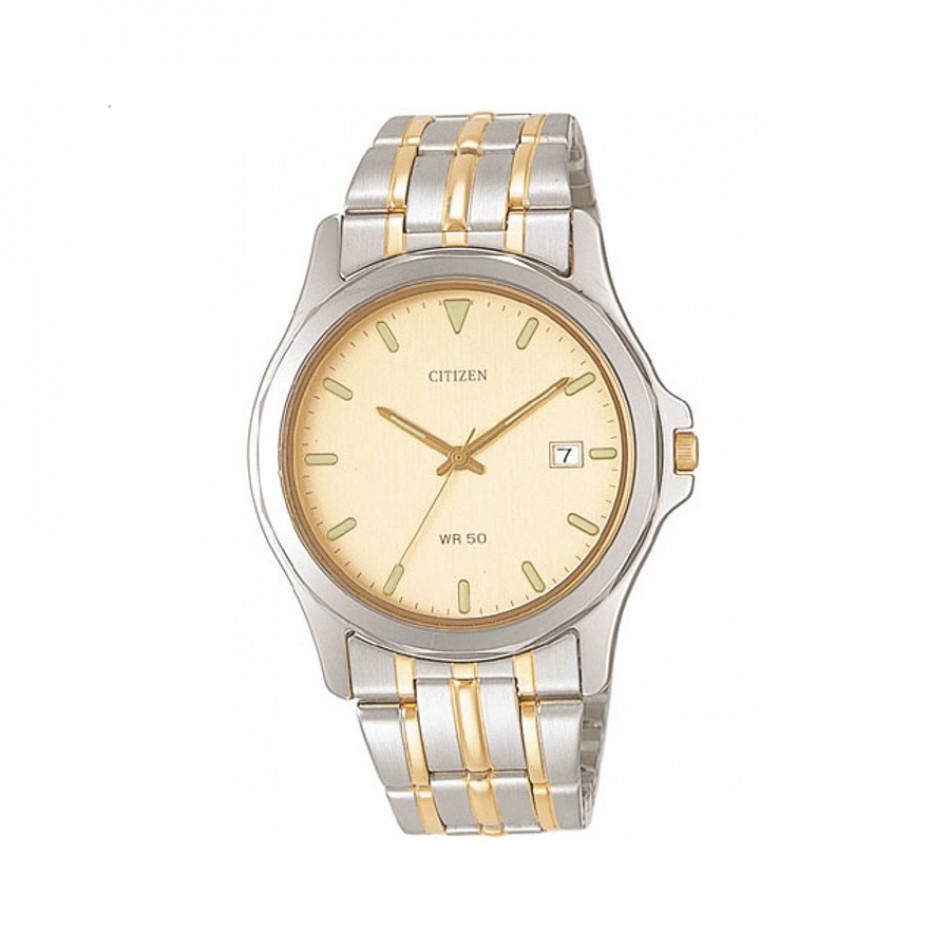 Мъжки часовник Citizen браслет със златист циферблат BI0740 96P