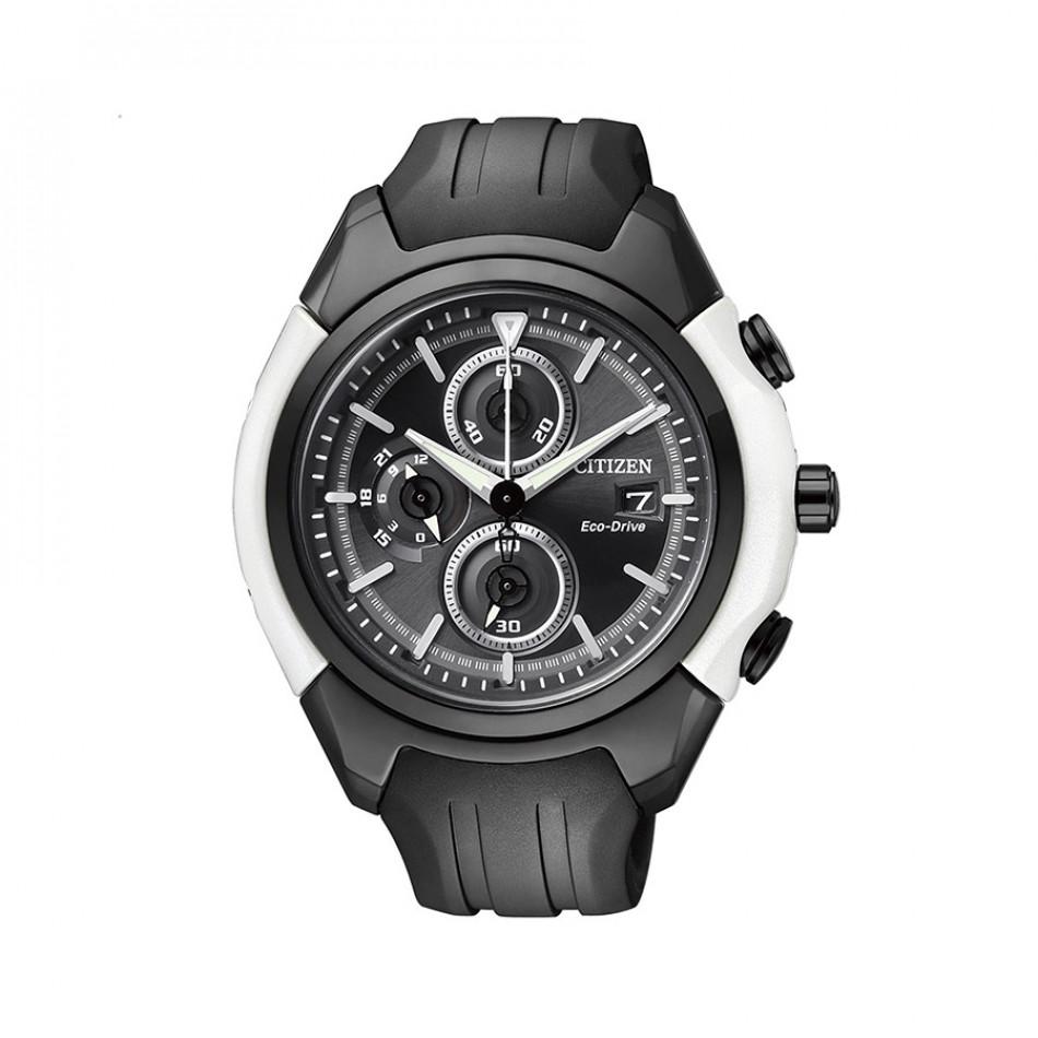 Eco-Drive Black Dial Chronograph Men's Watch CA0286-08E CA0286 08E/Cal B612