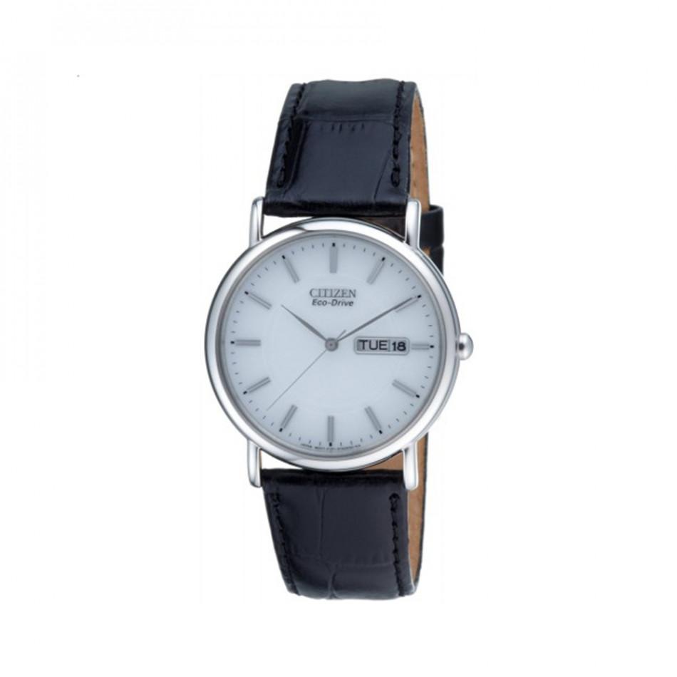 Eco-Drive White Dial Black Leather Calendar Men's Watch BM8241-01A BM8241 01A